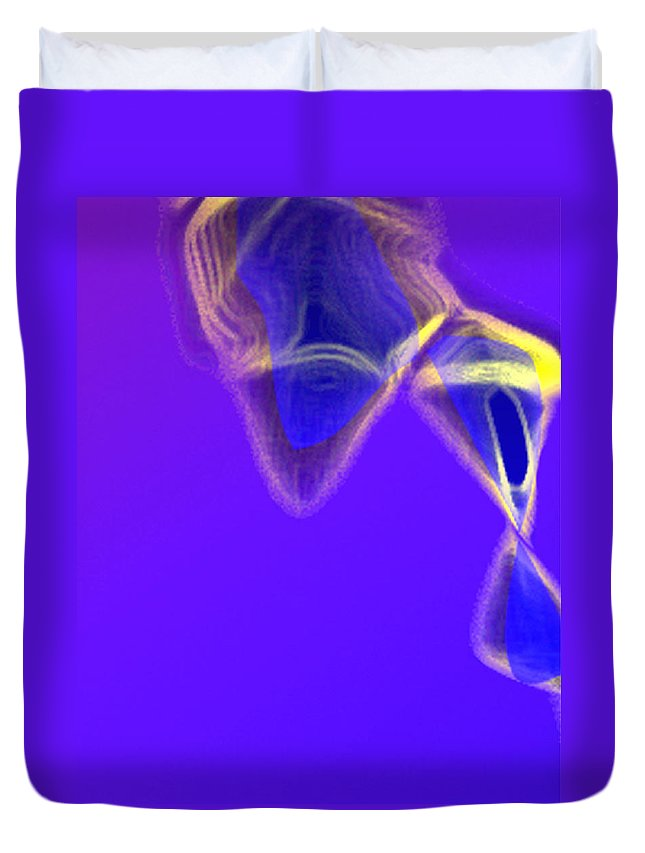 Abstract Duvet Cover featuring the digital art Panel One From Movement In Blue by Steve Karol
