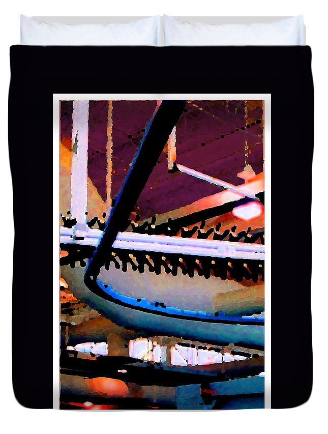 Abstract Duvet Cover featuring the photograph Panel Three From Star Factory by Steve Karol