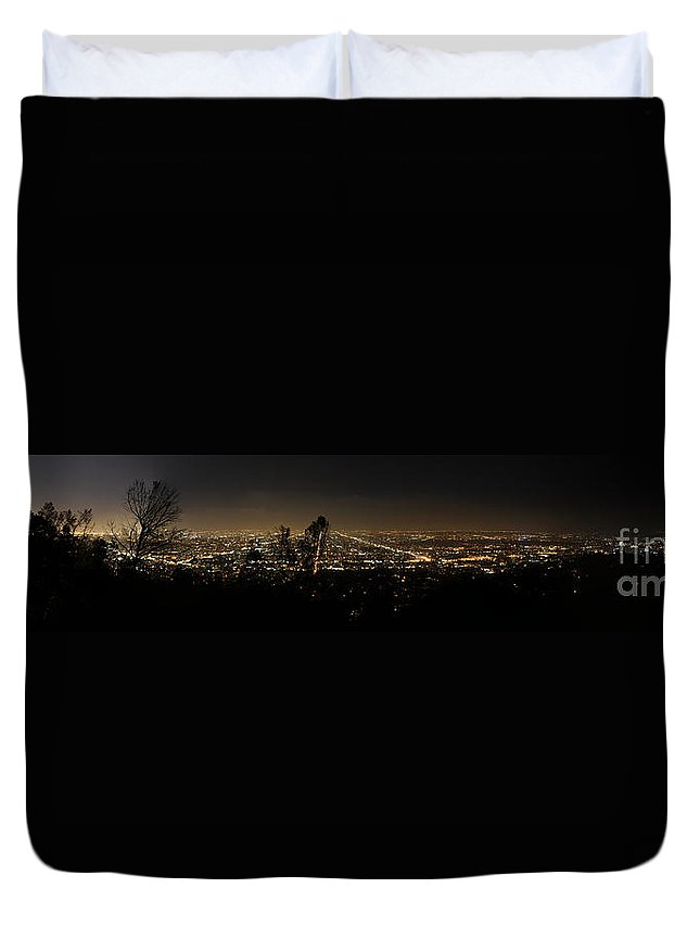 Clay Duvet Cover featuring the photograph Pano From Griffeth Observatory by Clayton Bruster