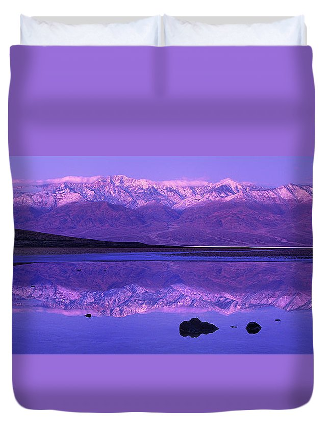 North America Duvet Cover featuring the photograph Panorama Badwater And The Panamint Range At Sunrise Death Valley by Dave Welling