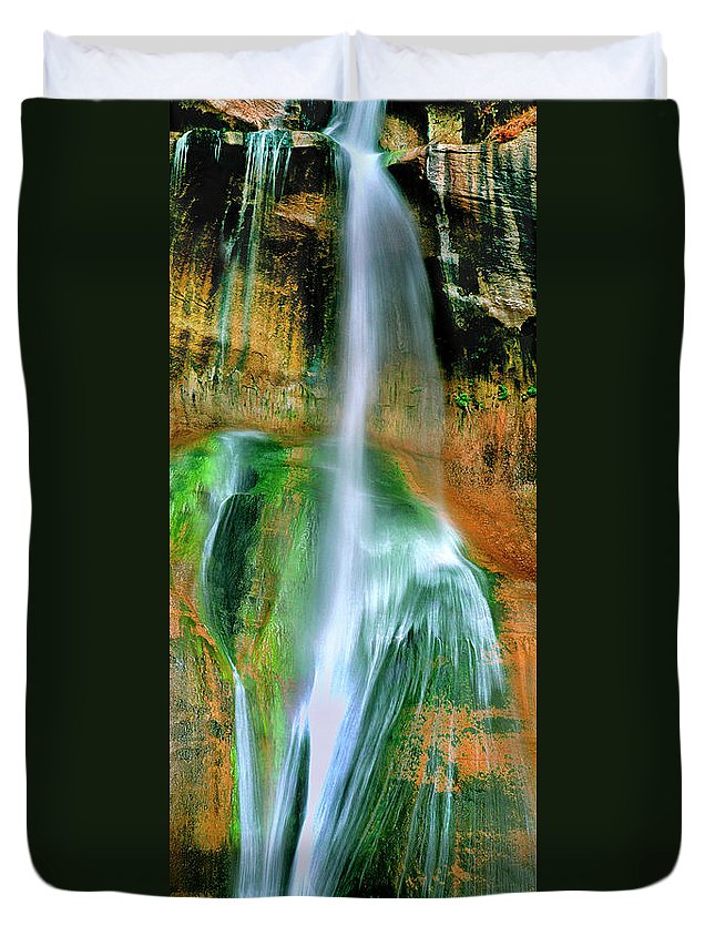 Utah Landscape Duvet Cover featuring the photograph Panorama Lower Calf Creek Falls Escalante Nm Utah by Dave Welling