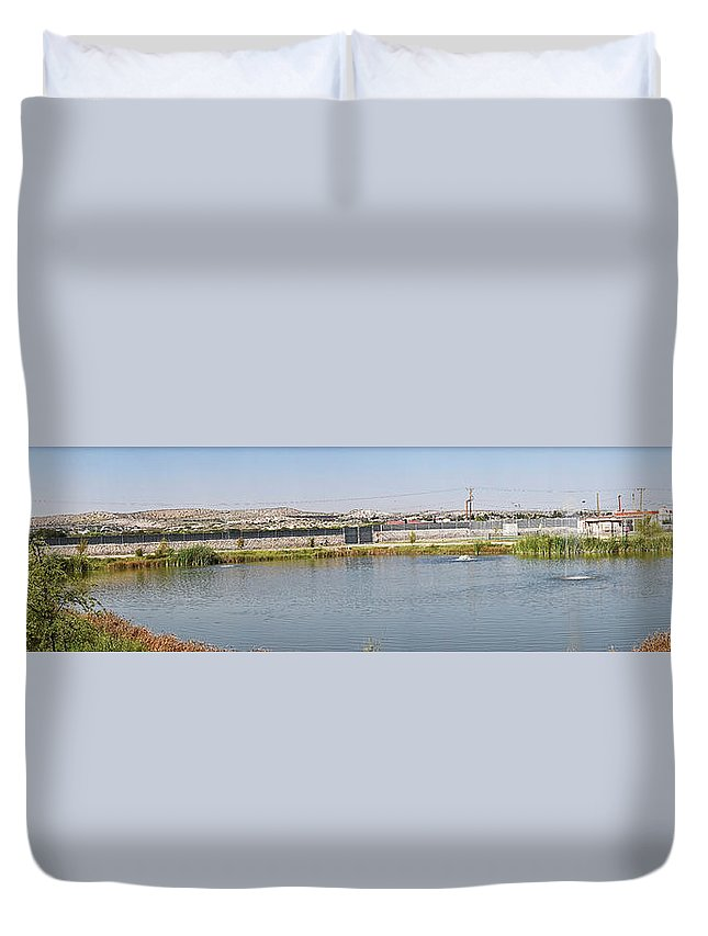 Pond Duvet Cover featuring the photograph Panorama Of A Pond by Allen Sheffield