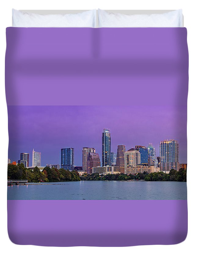 Austin Duvet Cover featuring the photograph Panorama Of Downtown Austin Skyline From The Lady Bird Lake Boardwalk Trail - Texas Hill Country by Silvio Ligutti