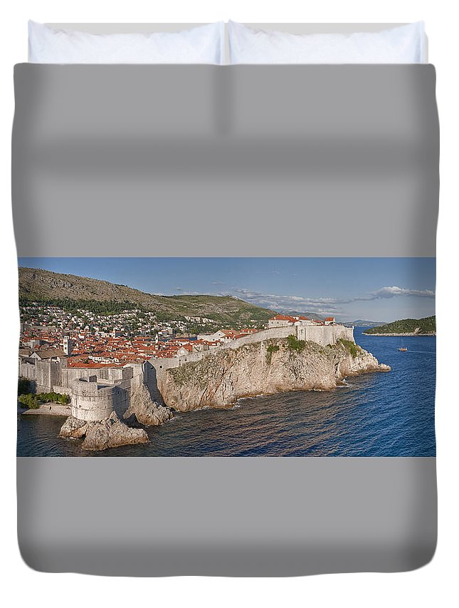 Dubrovnik Duvet Cover featuring the photograph Panorama Of Dubrovnik, Croatia, In The Afternoon by Rob Greebon