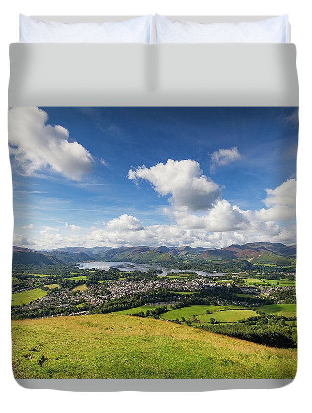 Cumbria Lake District Duvet Cover featuring the photograph Panorama Of Keswick And Lake Derwent Water Panorama From Latrigg by Iordanis Pallikaras
