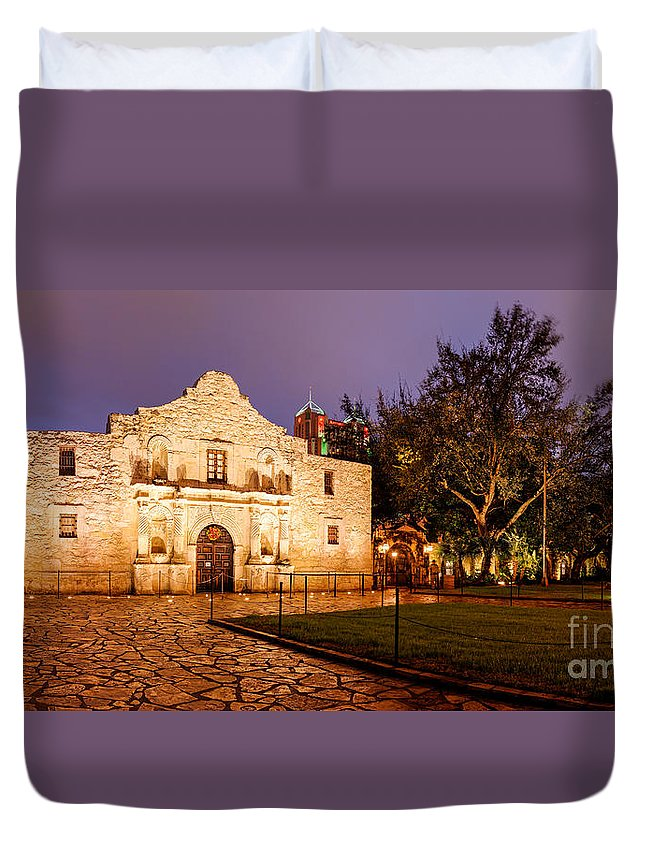 Remember Duvet Cover featuring the photograph Panorama Of The Alamo In San Antonio At Dawn - San Antonio Texas by Silvio Ligutti
