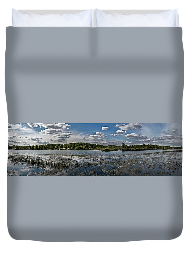 Panorama Duvet Cover featuring the photograph Panorama Of The Lake In Elkino by Alex Konakov