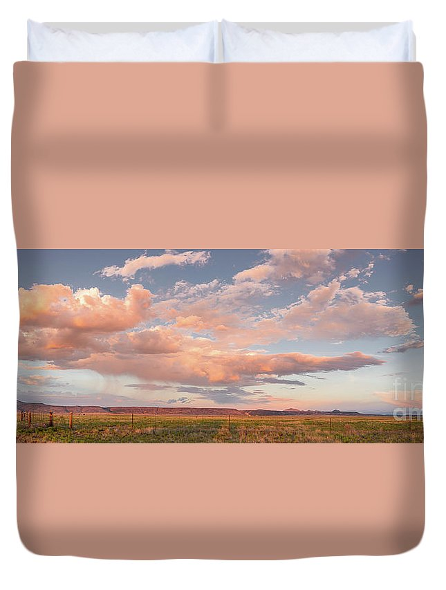 New Duvet Cover featuring the photograph Panorama Of Twilight Clouds Over Tetilla Peak Recreation Area - Cochiti Lake New Mexico by Silvio Ligutti