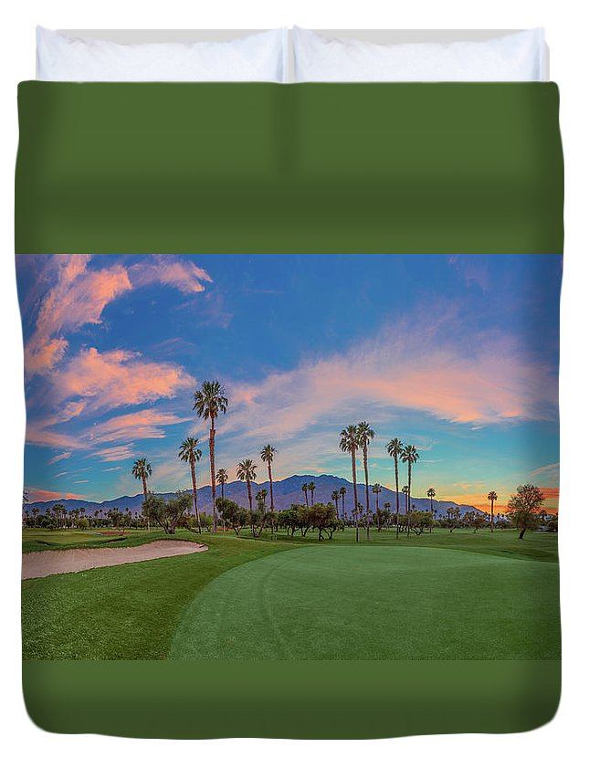 Palm Springs Duvet Cover featuring the photograph Panorama Palm Springs Golfing by Scott Campbell