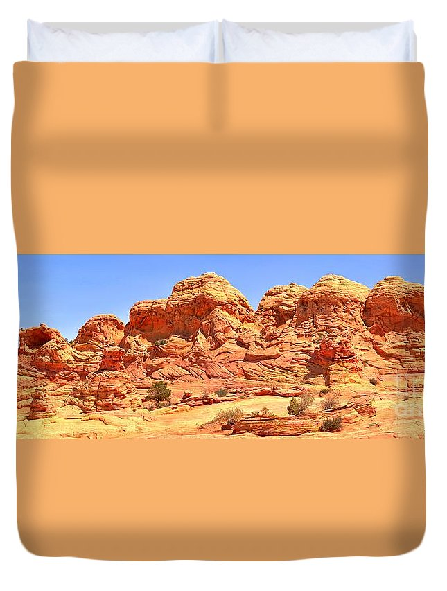 Petrified Sand Dunes Duvet Cover featuring the photograph Panoramic Coyote Buttes Landscape by Adam Jewell