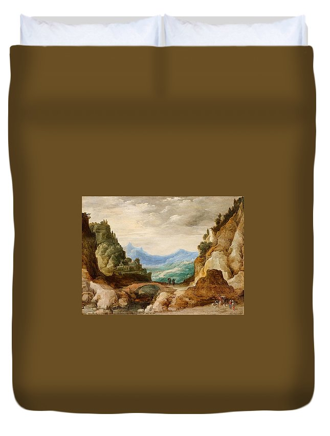 Josse De Momper Duvet Cover featuring the painting Panoramic Landscape With Travellers by MotionAge Designs