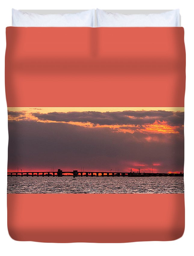 Sunset Duvet Cover featuring the photograph Panoramic Sunset 3-18-2016 V2 by David Israel