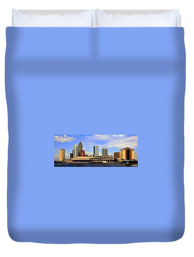 Tampa Bay Florida Duvet Cover featuring the painting Panoramic Tampa by David Lee Thompson
