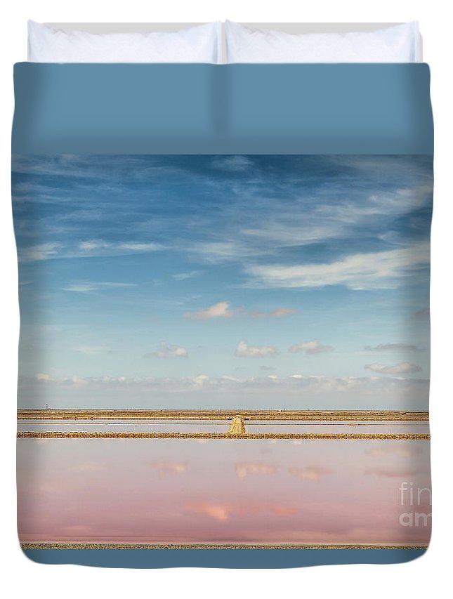 Saline Duvet Cover featuring the photograph Panoramic View Of Saline Drip - Salin De Giraud by Pier Giorgio Mariani
