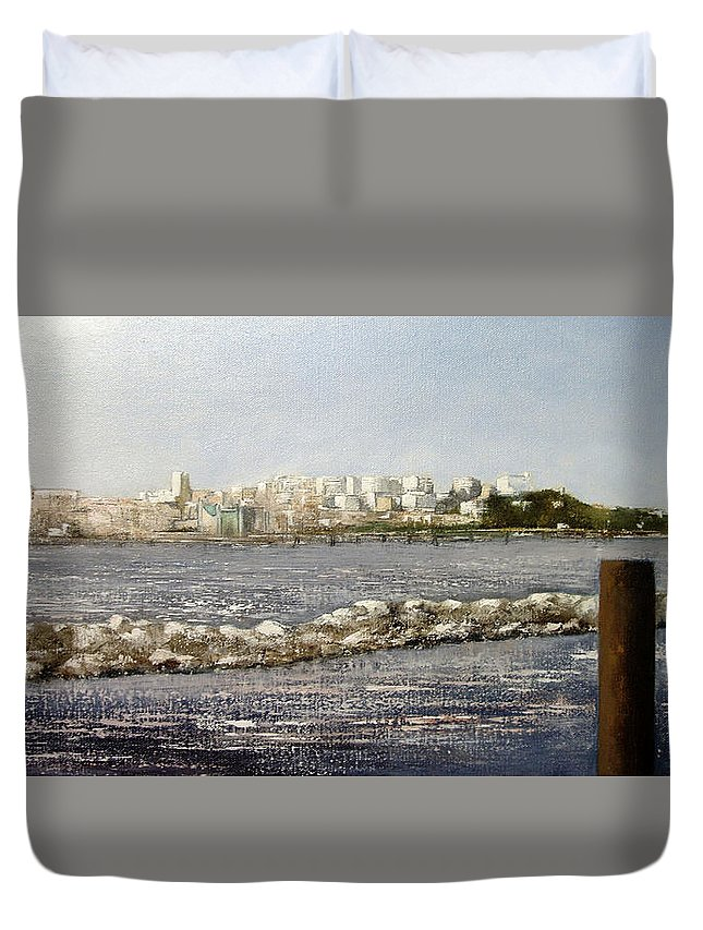 Santander Duvet Cover featuring the painting Panoramica Santander desde Raos by Tomas Castano