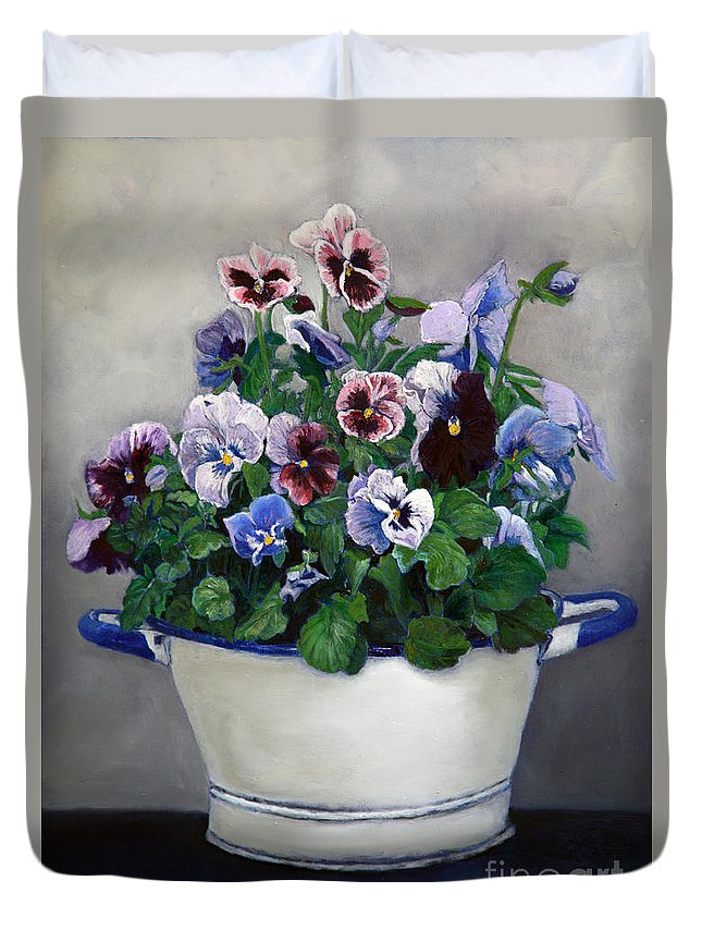Painting Duvet Cover featuring the painting Pansies by Portraits By NC