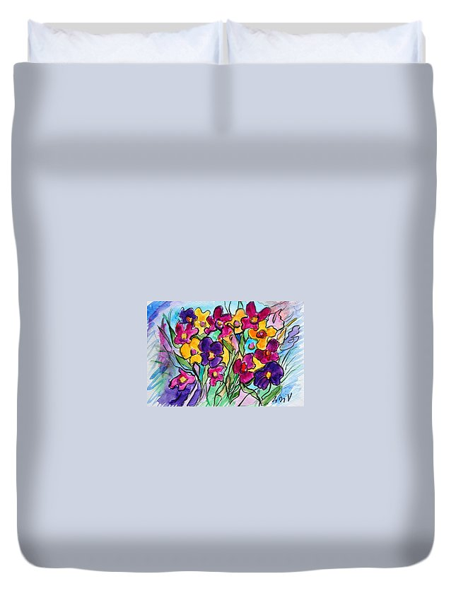 Flowers Duvet Cover featuring the painting Pansies by Luiza Vizoli