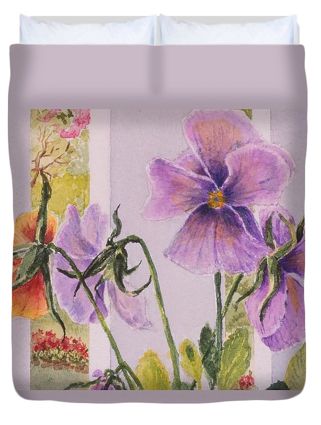 Florals Duvet Cover featuring the painting Pansies on my Porch by Mary Ellen Mueller Legault