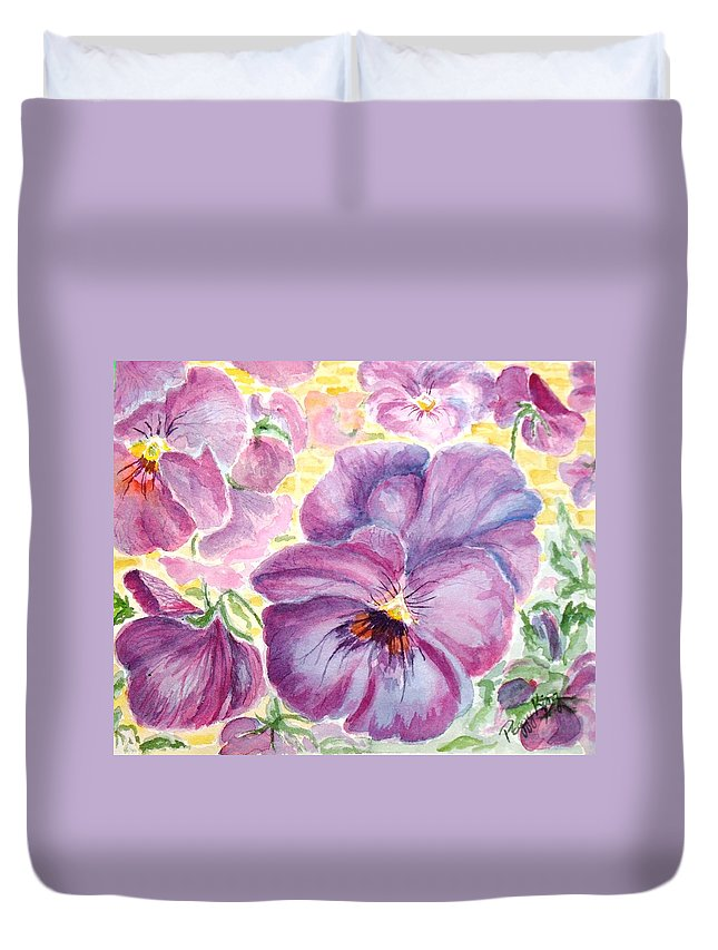 Pansy Duvet Cover featuring the painting Pansies by Peggy King