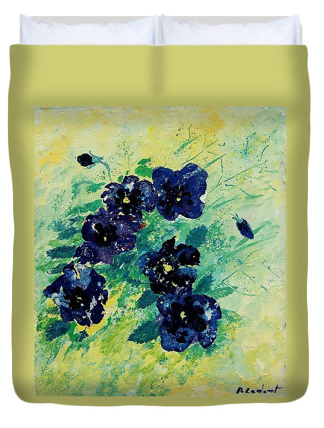 Flowers Duvet Cover featuring the painting Pansies by Pol Ledent