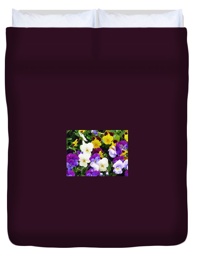 Pansies Duvet Cover featuring the photograph Pansies by Sandy MacGowan