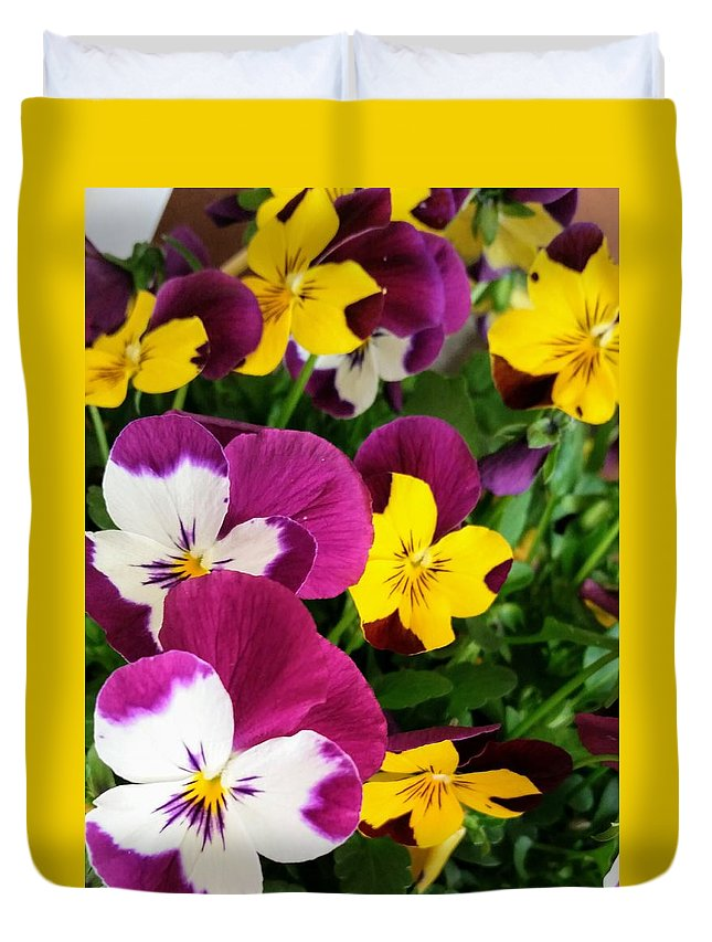 Flowers Duvet Cover featuring the photograph Pansies by Valerie Josi