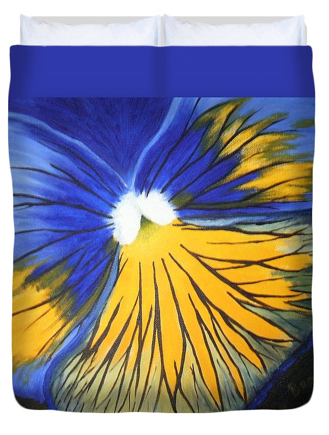 Pansy Duvet Cover featuring the painting Pansy Face by Brandy House