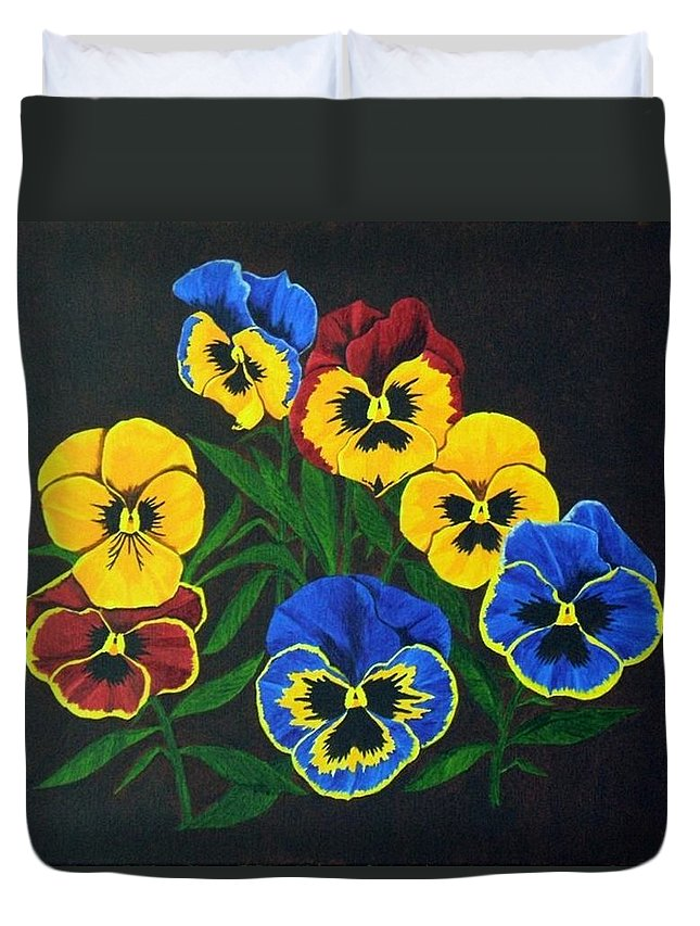 Pansies Duvet Cover featuring the painting Pansy Lions by Brandy House