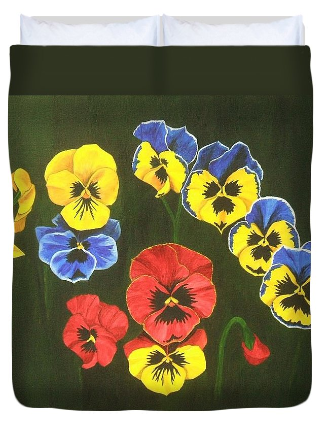 Pansy Flowers Duvet Cover featuring the painting Pansy Lions Too by Brandy House