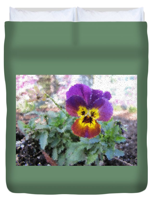 Flower Duvet Cover featuring the digital art Pansy Perfection by Tim Allen