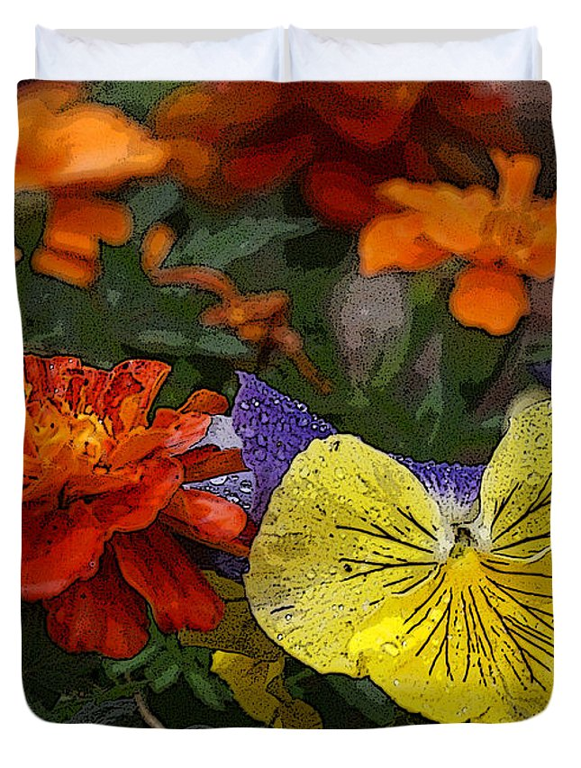 Pansy Duvet Cover featuring the photograph Pansy Play by Heather Coen