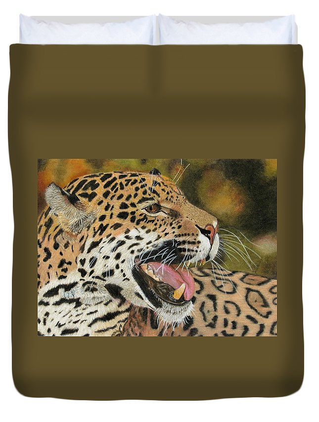 Panthers Duvet Cover featuring the drawing Panthera by Lori Hanks