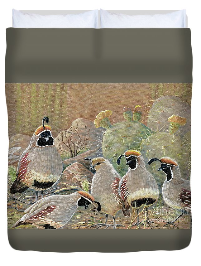 Desert Quail Duvet Cover featuring the drawing Papa Grande by Marilyn Smith