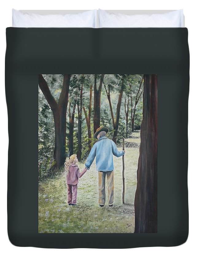 Grandfather Duvet Cover featuring the painting Papa by Kris Crollard