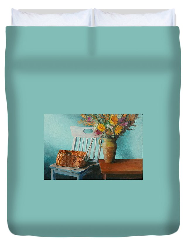 Floral Duvet Cover featuring the painting Papa's Pole by Jerry McElroy