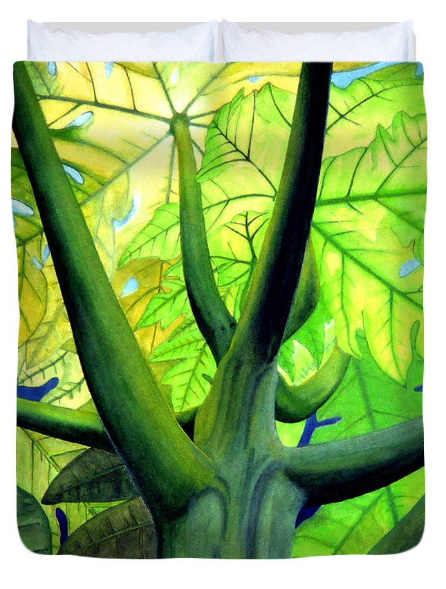 Papaya Tree Duvet Cover featuring the painting Papaya Tree by Kevin Smith