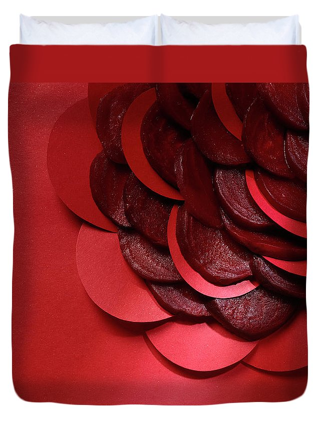 Composition Duvet Cover featuring the photograph Paper And Beets by Stefania Levi