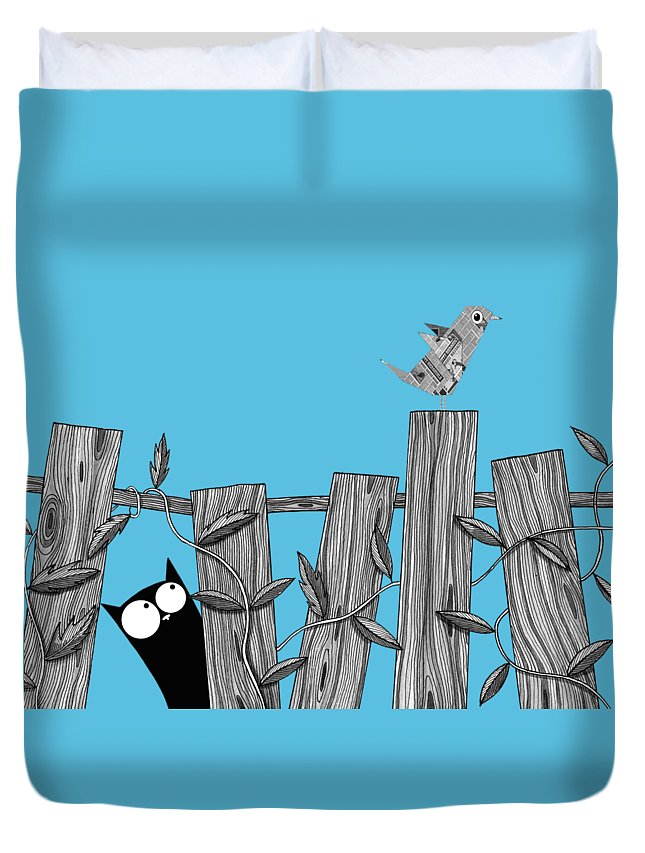 Bird Duvet Cover featuring the painting Paper Bird by Andrew Hitchen
