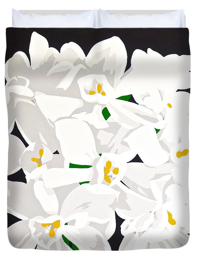 Acrylic Duvet Cover featuring the painting Paperwhites by Susan Porter