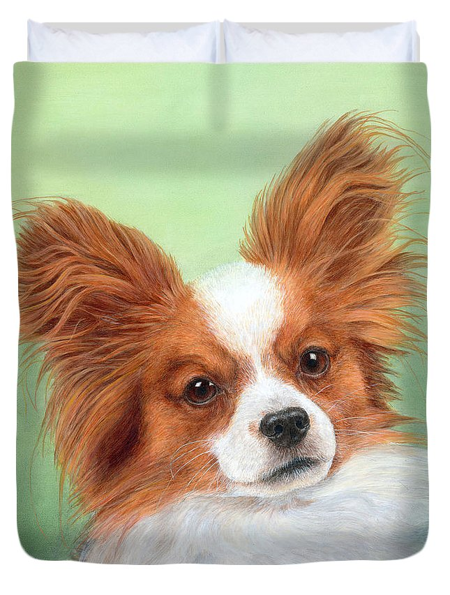 Dog Duvet Cover featuring the painting Papillion by Diane Cardaci