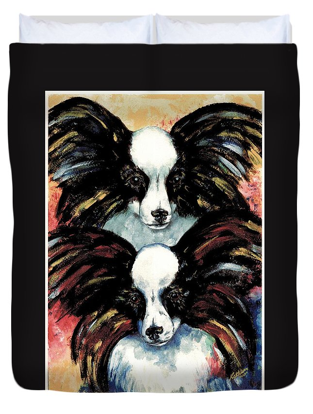 Papillon Duvet Cover featuring the painting Papillon De Mardi Gras by Kathleen Sepulveda