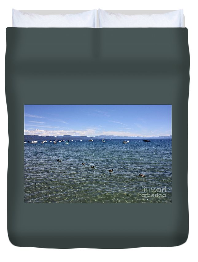 Lake Tahoe Duvet Cover featuring the photograph Parade Of Geese by Carol Groenen