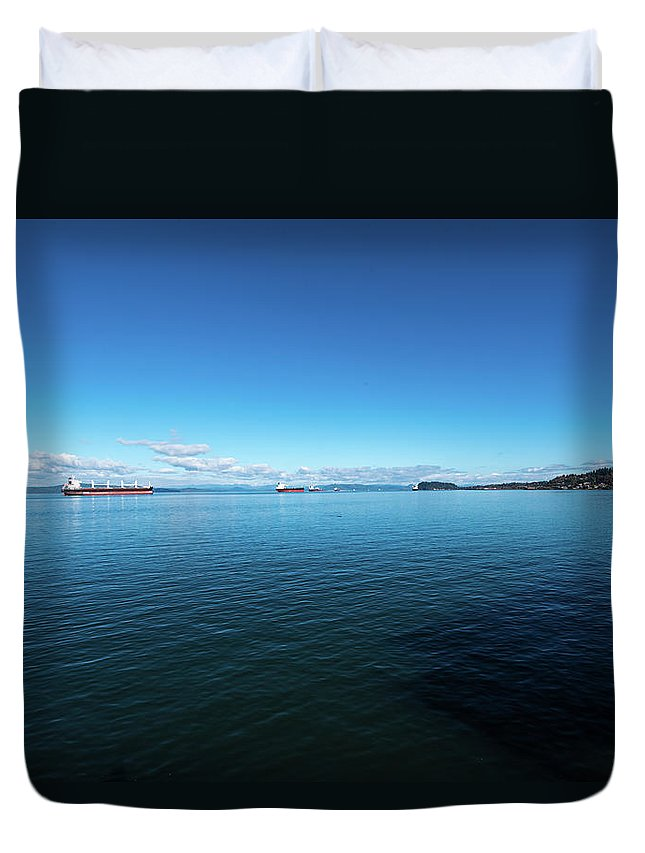 Freighters Duvet Cover featuring the photograph Parade Upriver by Tom Cochran