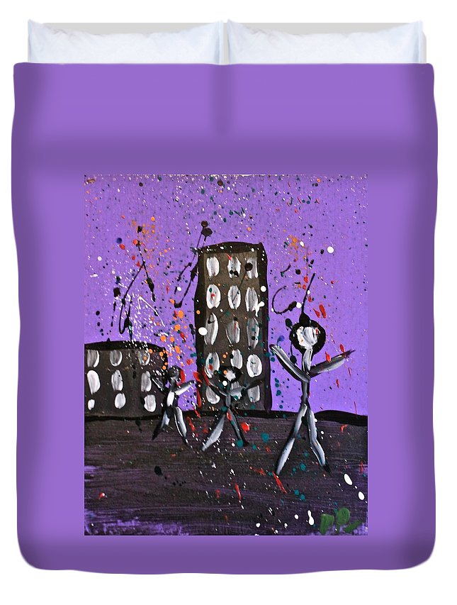 Acrylic Duvet Cover featuring the painting Parades 9 by Mario MJ Perron