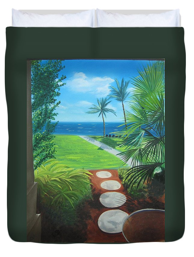Seascape Duvet Cover featuring the painting Paradise Beckons by Lea Novak