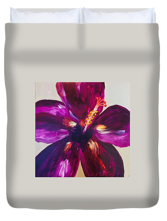 Hibiscus Duvet Cover featuring the painting Paradise by Jessica Clark