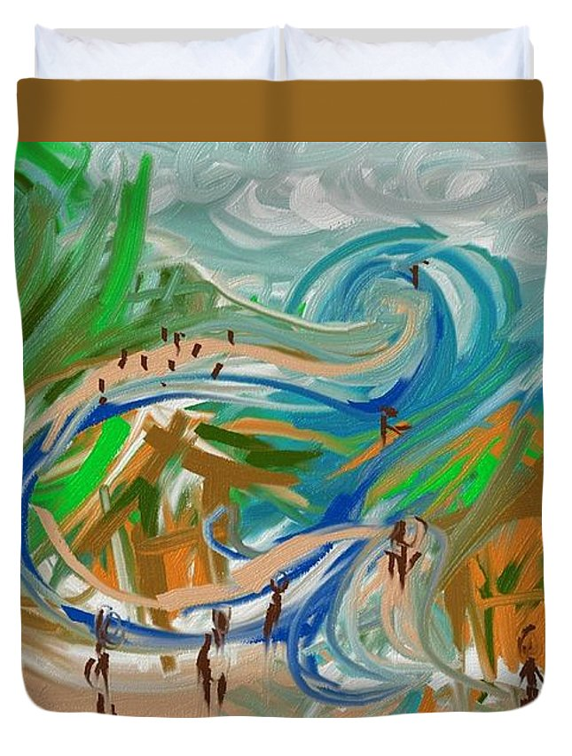 Abstract Duvet Cover featuring the digital art Paradise by Lawrence Saunders