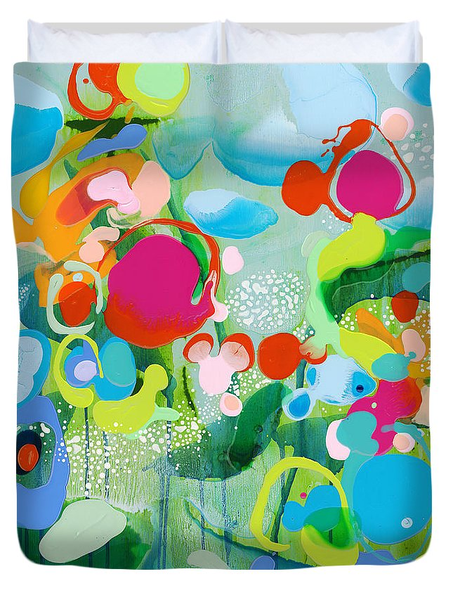 Abstract Duvet Cover featuring the painting Paradise Outer Limits by Claire Desjardins