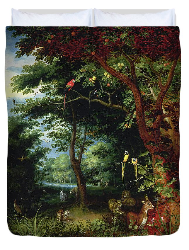 Paradise Duvet Cover featuring the painting Paradise Scene With Adam And Eve by Jan the Younger Brueghel