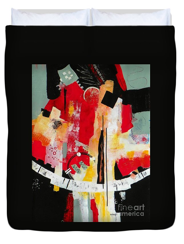 Abstract Expressionism Duvet Cover featuring the painting Parallels by Donna Frost
